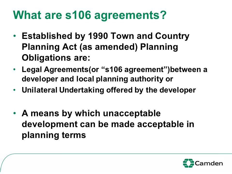 S106 Agreements Development Control User Panel S106 Agreements What