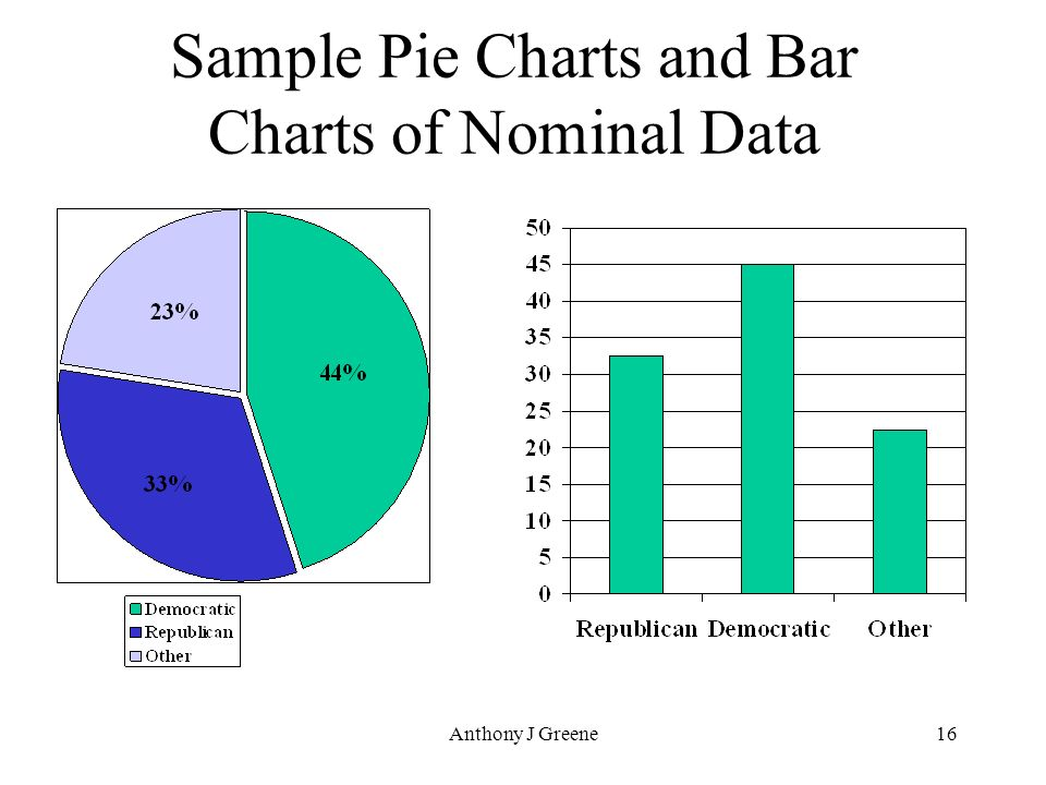 Data Types in Statistics pie chart and bar chart