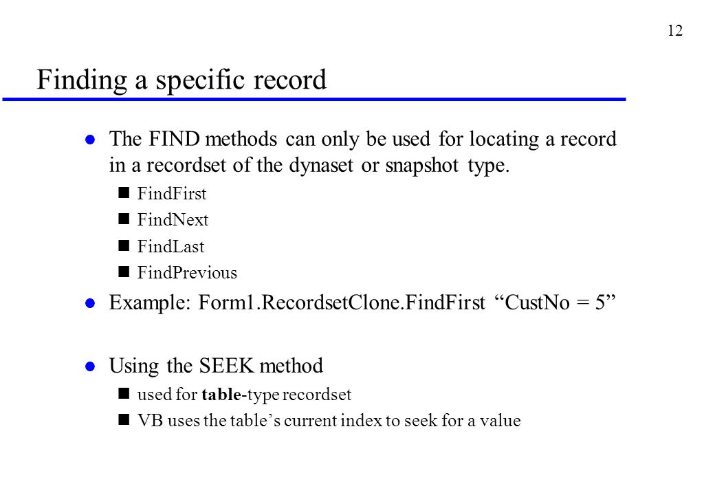 Lecture 4 Manipulating Form Data using methods of Recordset