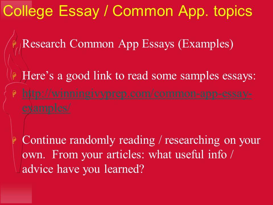 common app topics
