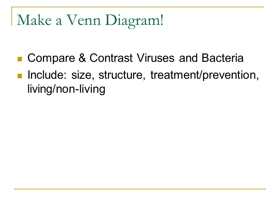 Warm up what are viruses what are some illnesses caused by viruses make a venn diagram ccuart Image collections