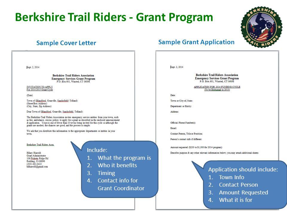 5 Berkshire Trail Riders   Grant Program Sample Cover Letter ...
