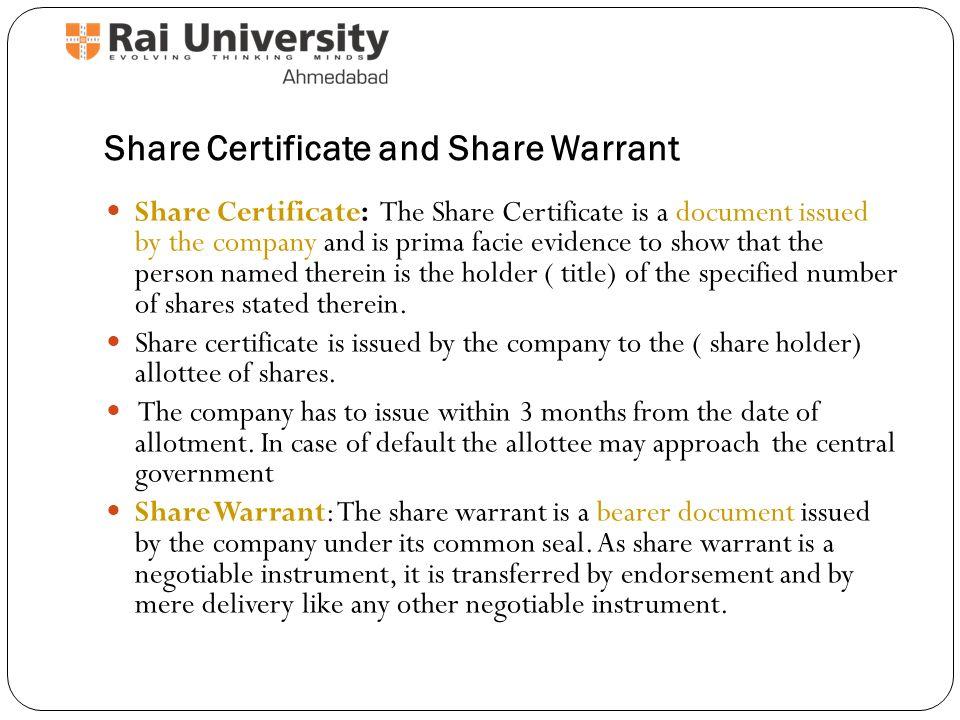 bearer share warrant