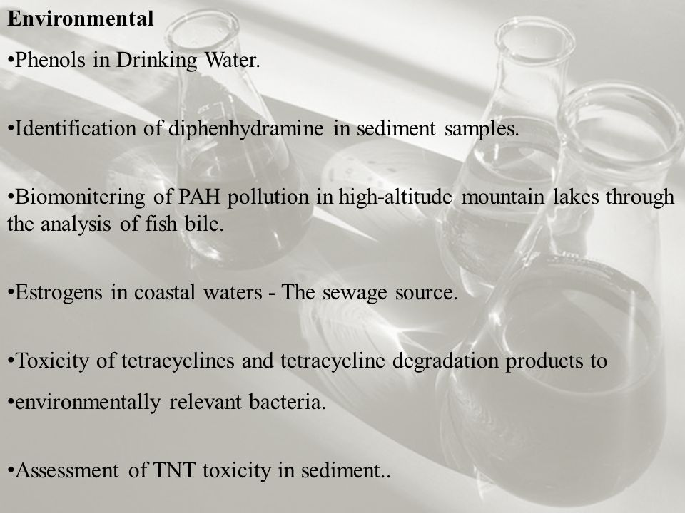 Environmental Phenols in Drinking Water. Identification of diphenhydramine in sediment samples.