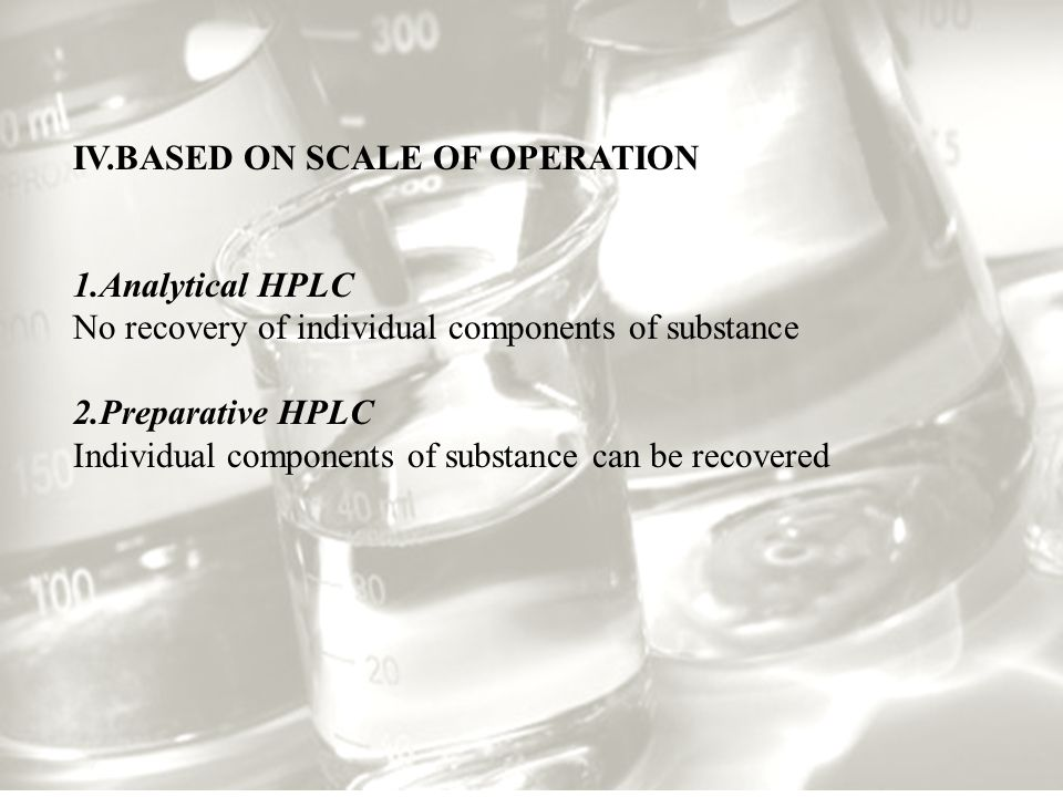 IV.BASED ON SCALE OF OPERATION 1.Analytical HPLC No recovery of individual components of substance 2.Preparative HPLC Individual components of substance can be recovered
