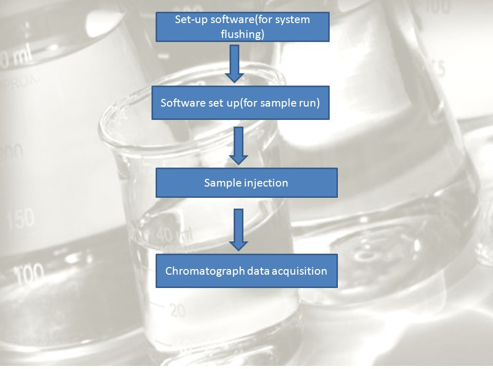 Set-up software(for system flushing) Software set up(for sample run) Sample injection Chromatograph data acquisition