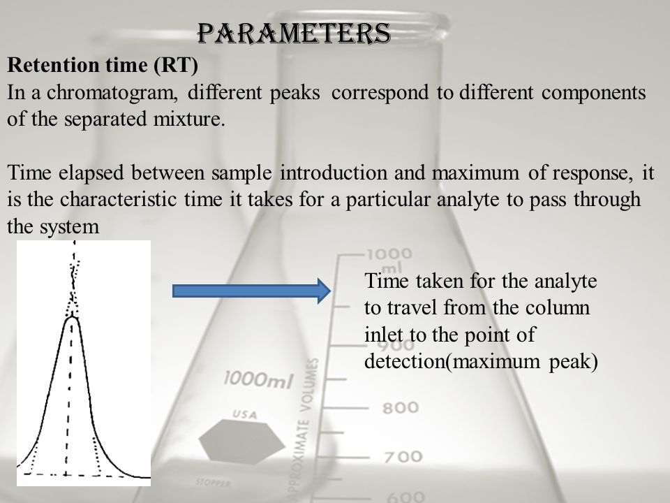Retention time (RT) In a chromatogram, different peaks correspond to different components of the separated mixture.