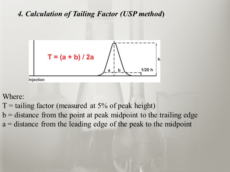 Where: T = tailing factor (measured at 5% of peak height) b = distance from the point at peak midpoint to the trailing edge a = distance from the leading edge of the peak to the midpoint 4.