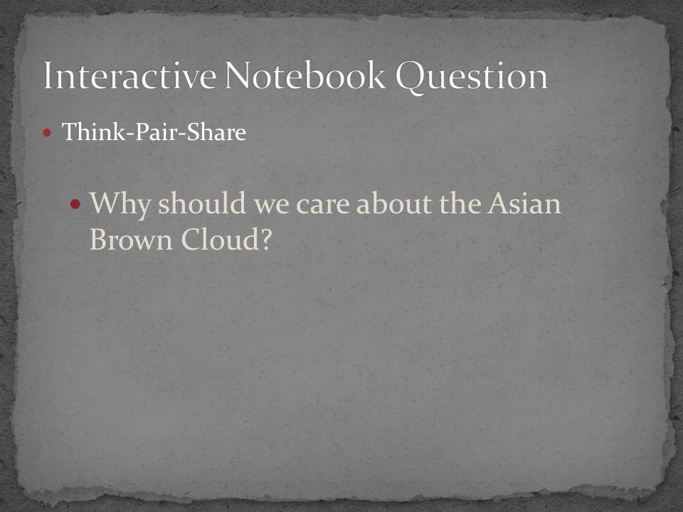 Think-Pair-Share Why should we care about the Asian Brown Cloud