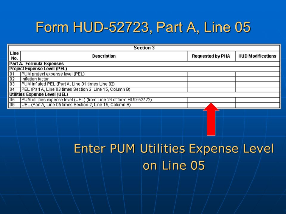 Form HUD-52723, Part A, Line 05 Enter PUM Utilities Expense Level on Line 05