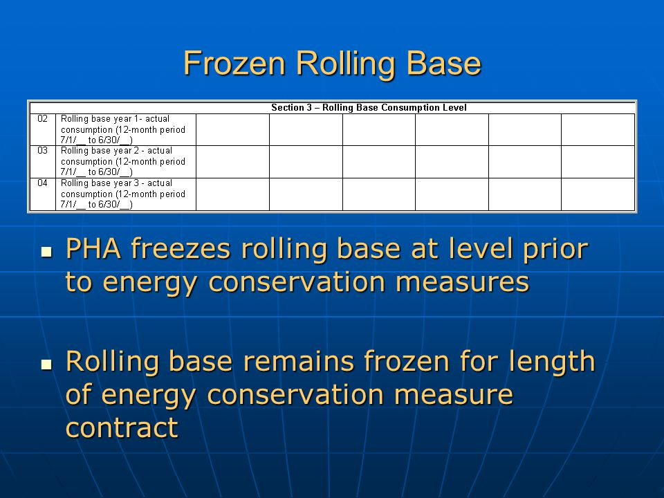 Frozen Rolling Base PHA freezes rolling base at level prior to energy conservation measures PHA freezes rolling base at level prior to energy conservation measures Rolling base remains frozen for length of energy conservation measure contract Rolling base remains frozen for length of energy conservation measure contract