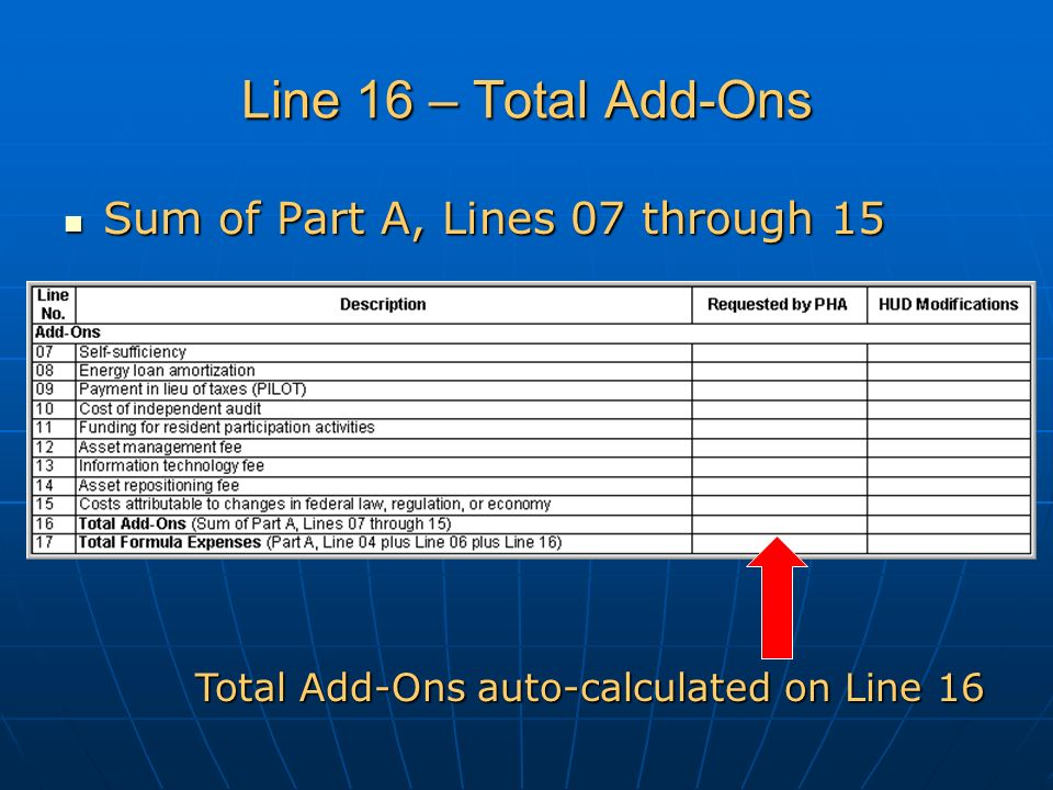 Line 16 – Total Add-Ons Sum of Part A, Lines 07 through 15 Sum of Part A, Lines 07 through 15 Total Add-Ons auto-calculated on Line 16