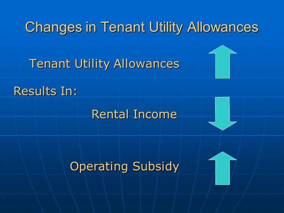 Changes in Tenant Utility Allowances Tenant Utility Allowances Rental Income Operating Subsidy Results In: