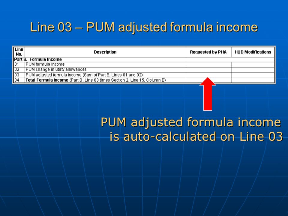 Line 03 – PUM adjusted formula income PUM adjusted formula income is auto-calculated on Line 03