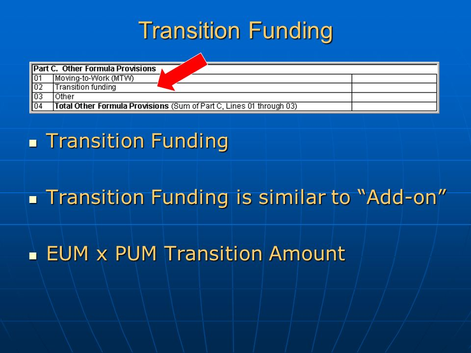 Transition Funding Transition Funding Transition Funding Transition Funding is similar to Add-on Transition Funding is similar to Add-on EUM x PUM Transition Amount EUM x PUM Transition Amount