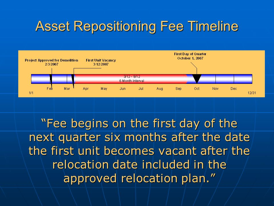 Asset Repositioning Fee Timeline Fee begins on the first day of the next quarter six months after the date the first unit becomes vacant after the relocation date included in the approved relocation plan.