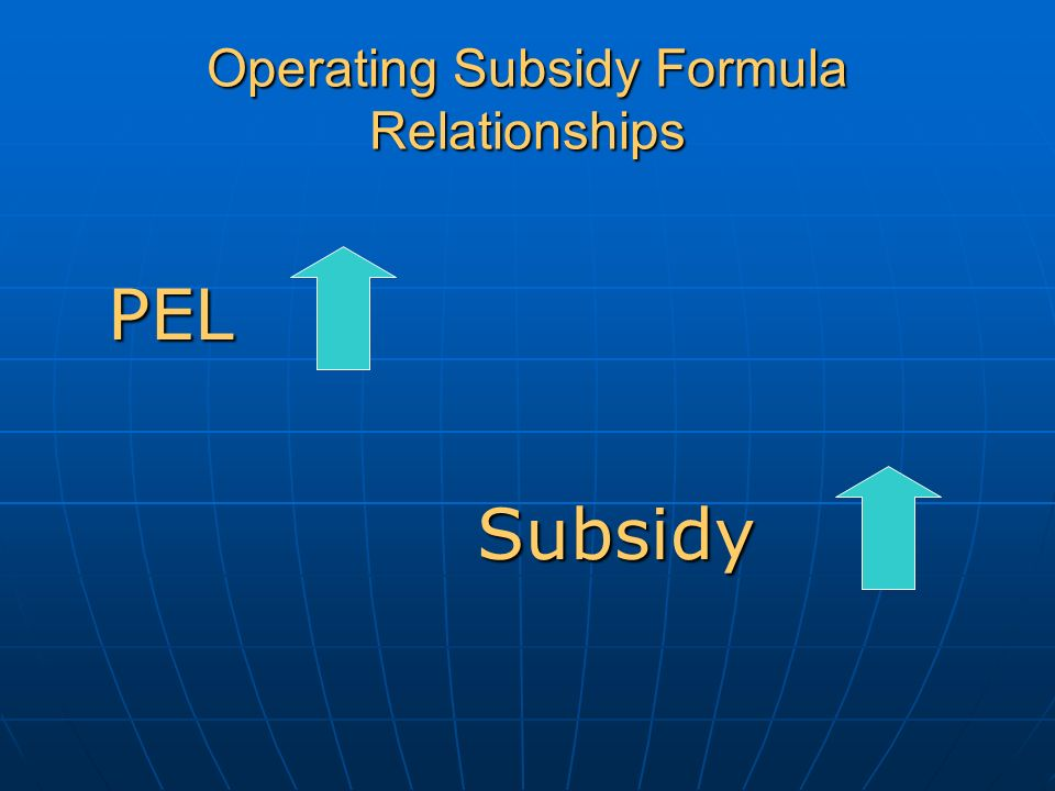Operating Subsidy Formula Relationships PEL Subsidy