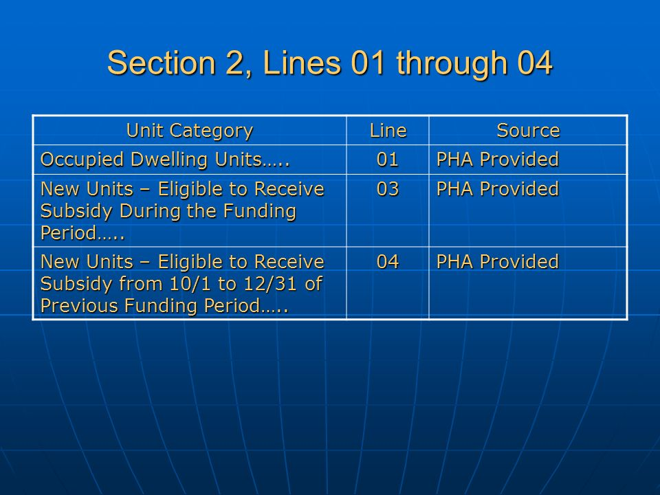 Section 2, Lines 01 through 04 Unit Category LineSource Occupied Dwelling Units…..