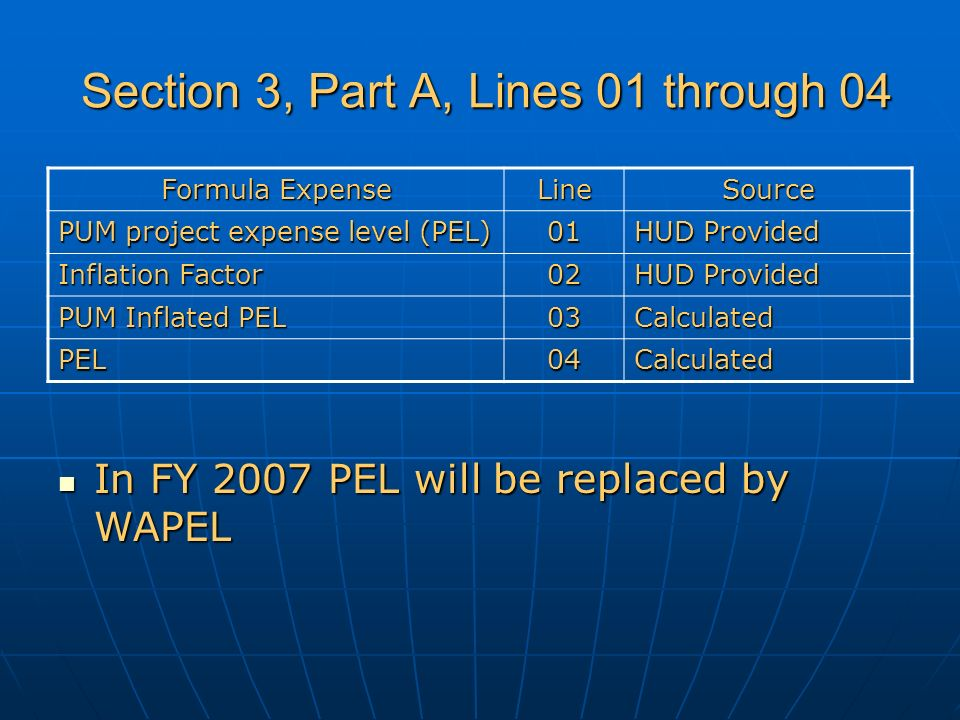 Section 3, Part A, Lines 01 through 04 Section 3, Part A, Lines 01 through 04 Formula Expense LineSource PUM project expense level (PEL) 01 HUD Provided Inflation Factor 02 HUD Provided PUM Inflated PEL 03Calculated PEL04Calculated In FY 2007 PEL will be replaced by WAPEL In FY 2007 PEL will be replaced by WAPEL