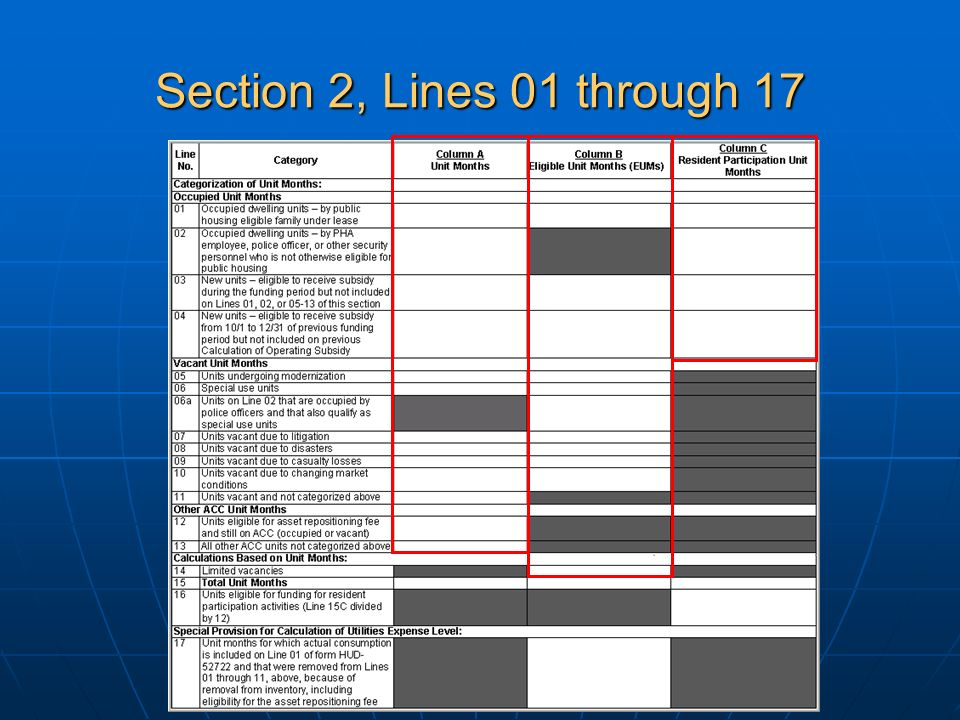 Section 2, Lines 01 through 17