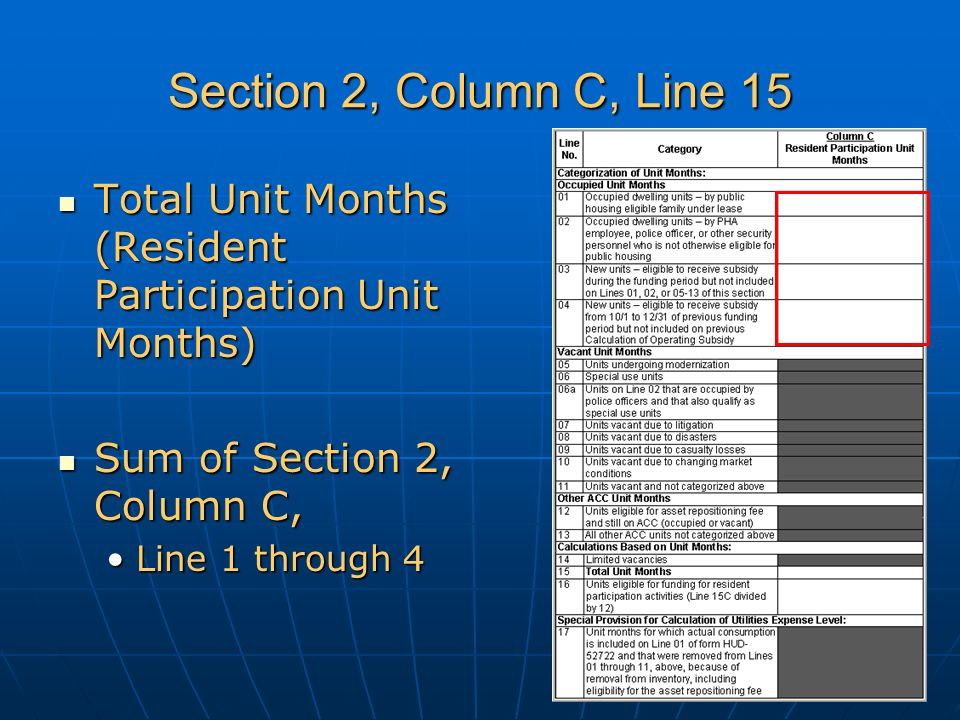 Section 2, Column C, Line 15 Total Unit Months (Resident Participation Unit Months) Total Unit Months (Resident Participation Unit Months) Sum of Section 2, Column C, Sum of Section 2, Column C, Line 1 through 4Line 1 through 4