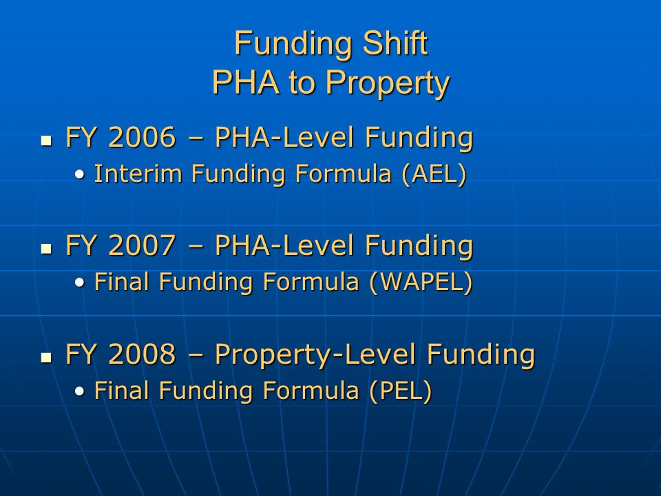 Funding Shift PHA to Property FY 2006 – PHA-Level Funding FY 2006 – PHA-Level Funding Interim Funding Formula (AEL)Interim Funding Formula (AEL) FY 2007 – PHA-Level Funding FY 2007 – PHA-Level Funding Final Funding Formula (WAPEL)Final Funding Formula (WAPEL) FY 2008 – Property-Level Funding FY 2008 – Property-Level Funding Final Funding Formula (PEL)Final Funding Formula (PEL)