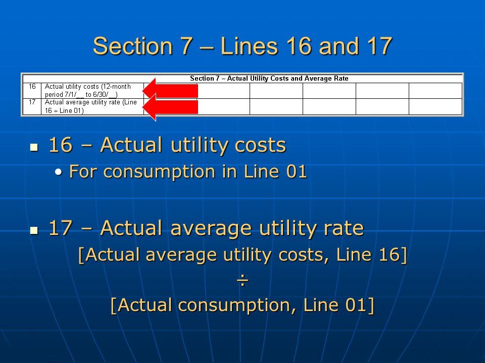Section 7 – Lines 16 and 17 16 – Actual utility costs 16 – Actual utility costs For consumption in Line 01For consumption in Line 01 17 – Actual average utility rate 17 – Actual average utility rate [Actual average utility costs, Line 16] ÷ [Actual consumption, Line 01]