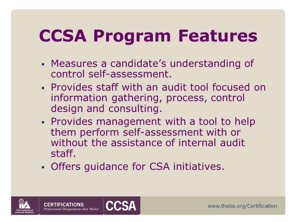 Certification in Control Self-Assessment (CCSA) - ppt download