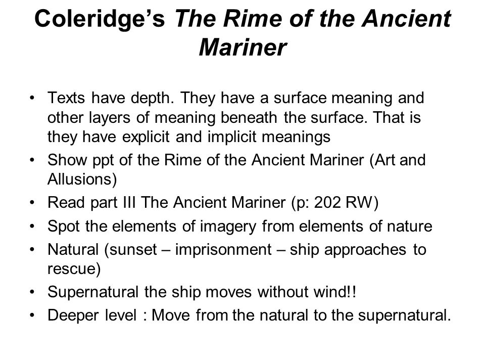 an analysis of ancient mariner The collection is considered the first great work of the romantic school of poetry and contains coleridge's famous poem, the rime of the ancient mariner that autumn the two poets traveled to the continent together.