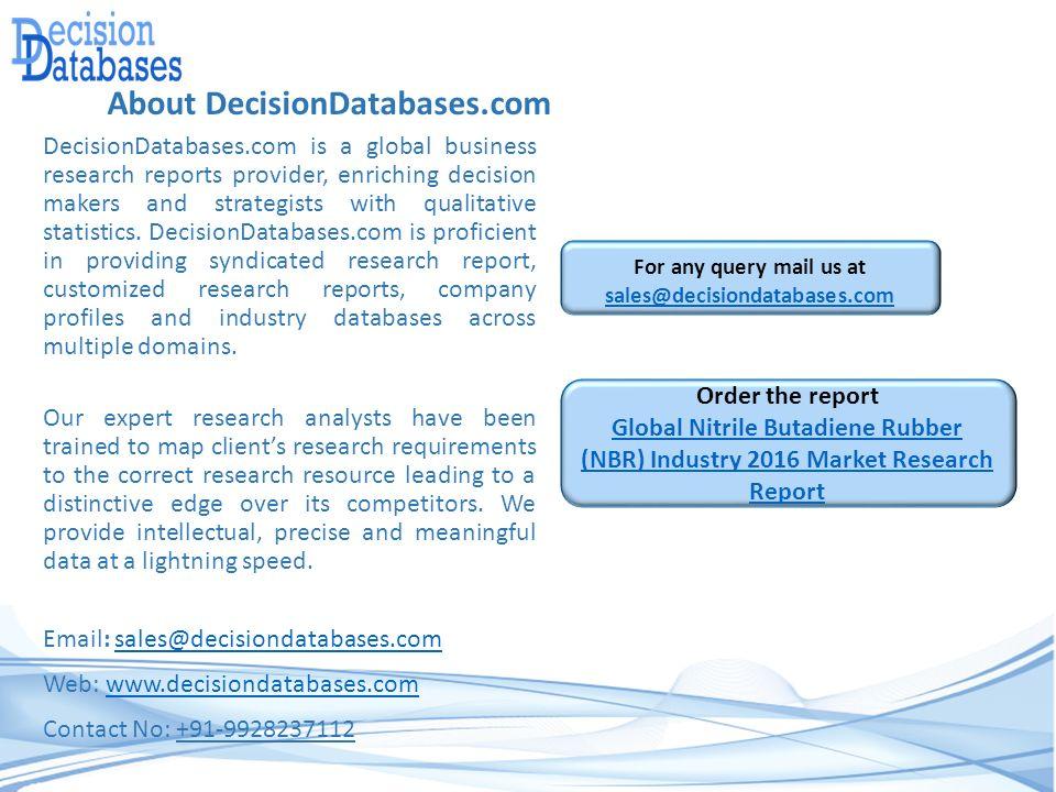 International Nitrile Butadiene Rubber (NBR) Industry 2016 Market