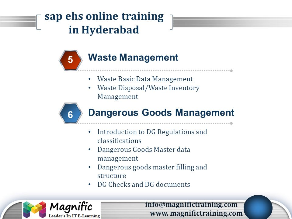 LOGO SAP EHS Training Environmental Health and Safety CONTACT US
