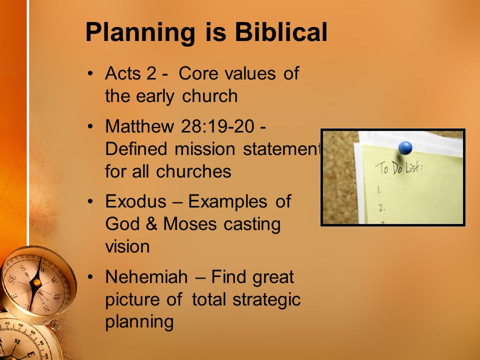 Strategic Ministry Planning Planning Is Biblical Acts 2 Core