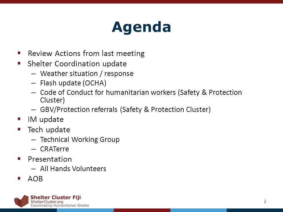 Shelter Cluster Fiji TC Winston Meeting 5 th April ppt download