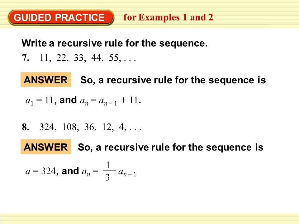 recursive formula for geometric sequence worksheet