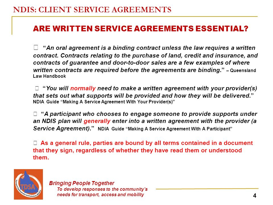 Ndis Client Service Agreements Bringing People Together To Develop