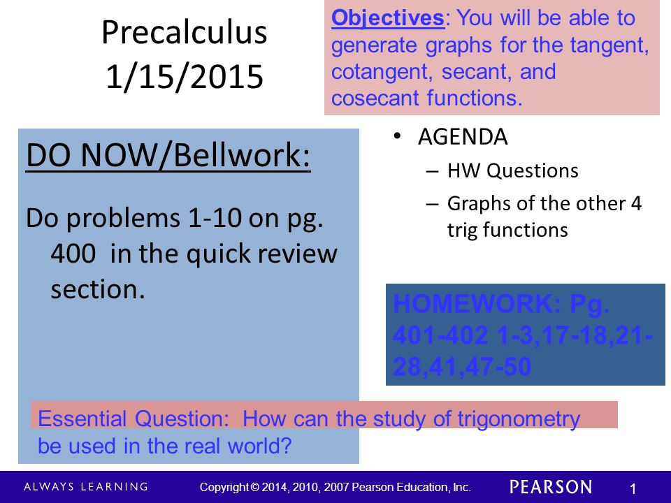 Copyright © 2014, 2010, 2007 Pearson Education, Inc. 1 Precalculus 1 ...