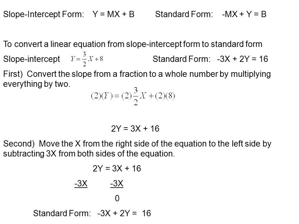 Slope Intercept Form To Standard Form And Standard Form To Slope