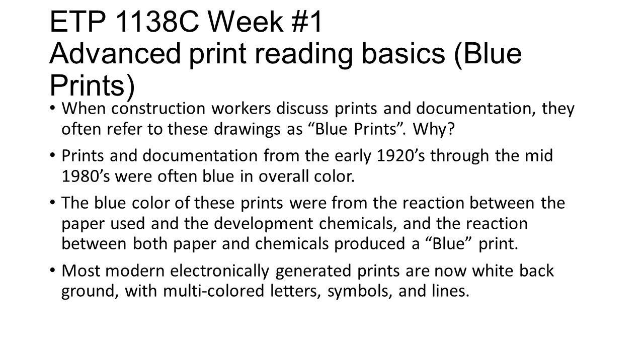 Etp 1138c Week 1 Advanced Print Reading Basics This Week We Will