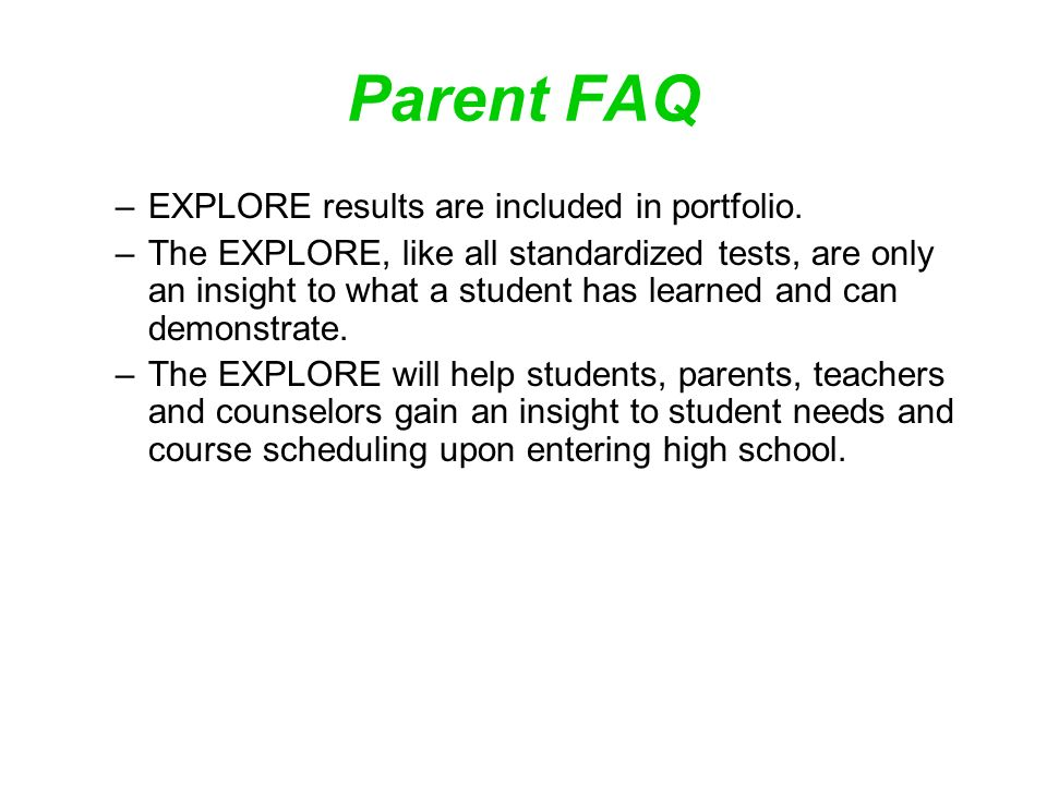 EXPLORE Test Results Scott Highlands Middle School  - ppt