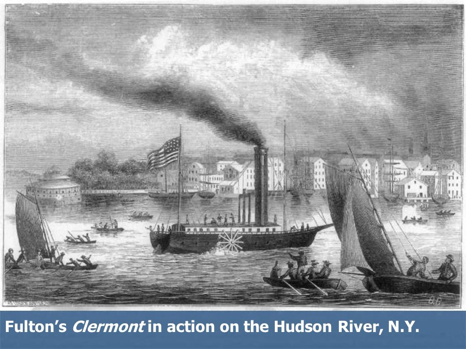 Fulton's Clermont in action on the Hudson River, N.Y.
