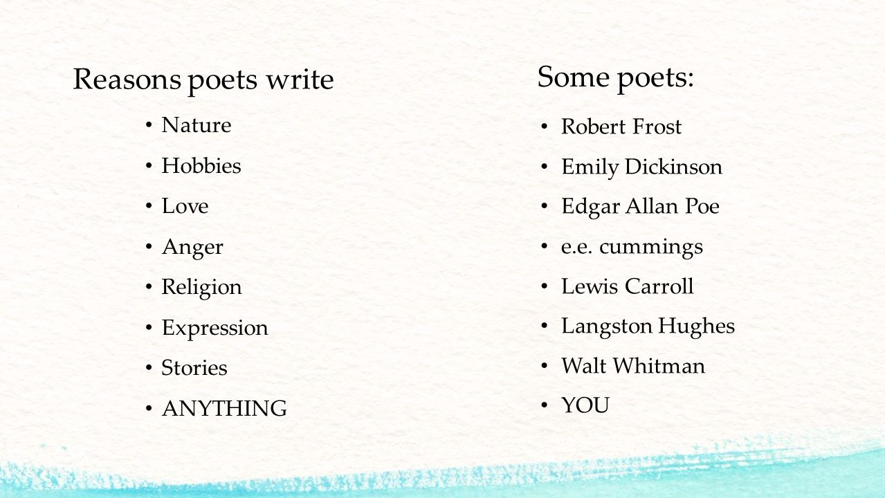 Happy Monday Bellringer What Does A Poem Need To Look Like