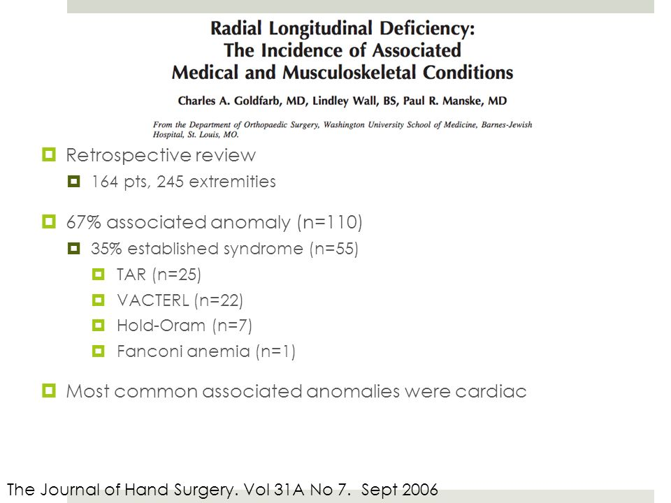  Retrospective review  164 pts, 245 extremities  67% associated anomaly (n=110)  35% established syndrome (n=55)  TAR (n=25)  VACTERL (n=22)  Hold-Oram (n=7)  Fanconi anemia (n=1)  Most common associated anomalies were cardiac The Journal of Hand Surgery.