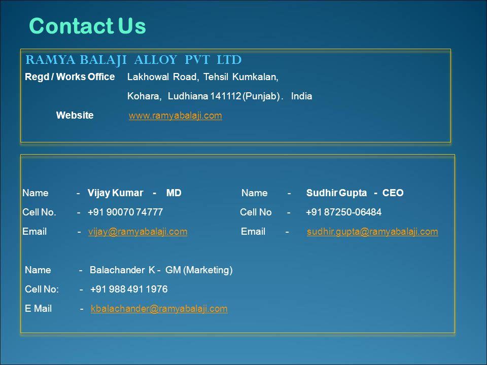 RAMYA BALAJI ALLOY (P) Ltd  TS Certified Company Manufacturers