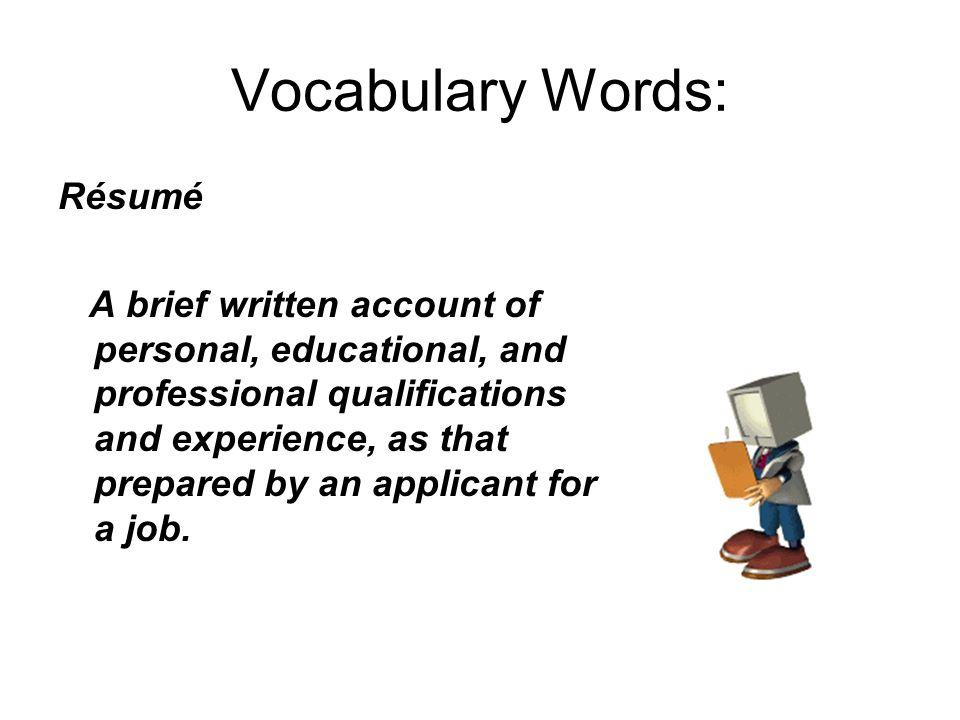 résumé writing june 2 vocabulary words 1 résumé 2 chronological
