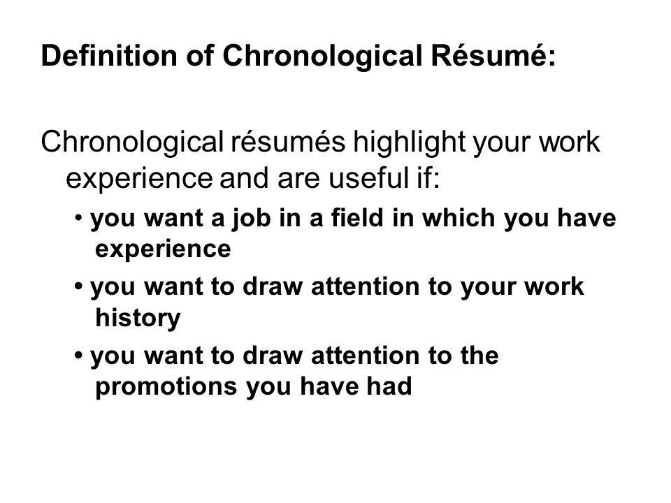 Résumé Writing June 2, Vocabulary Words 1. Résumé 2. Chronological ...