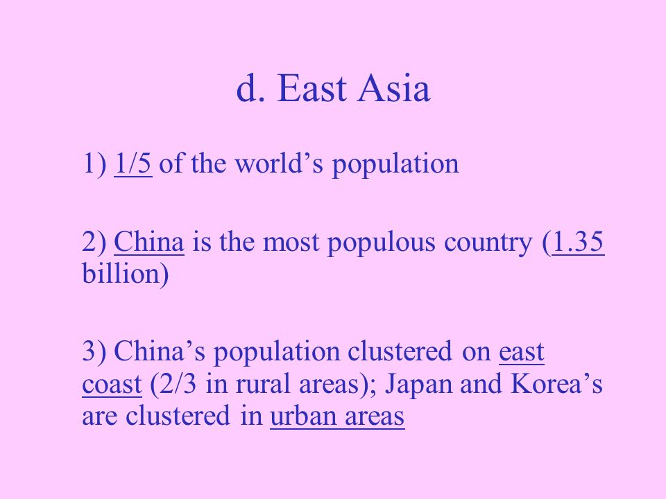 most of the population in east asia is clustered