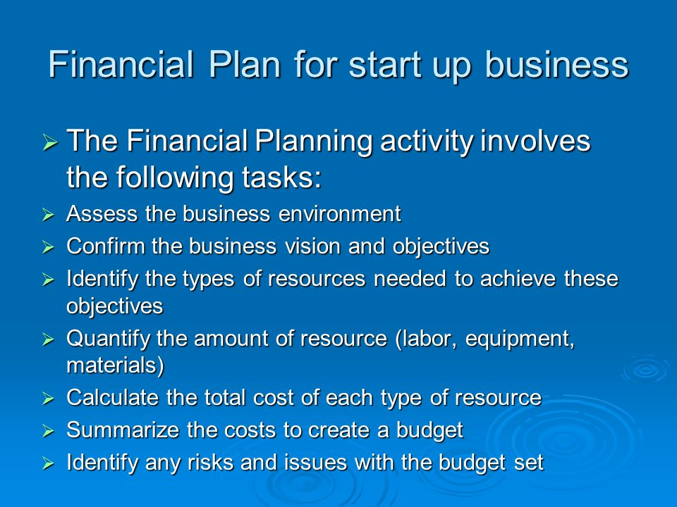 financial objectives examples for business plan