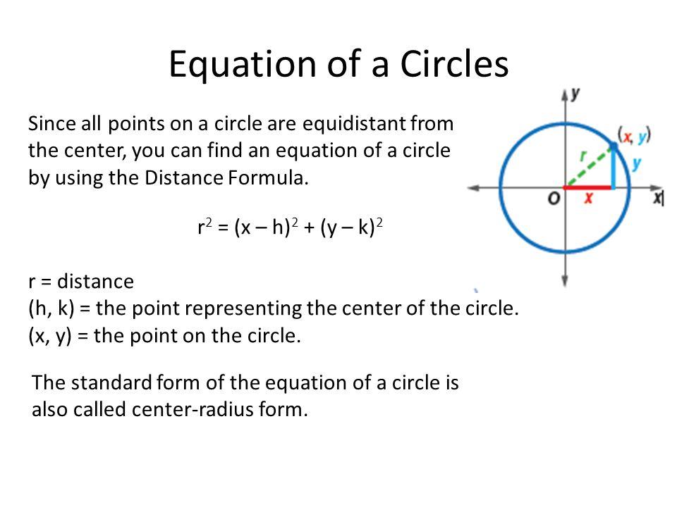 10 8 equations of circles 1 write the equation of a circle 2 graph