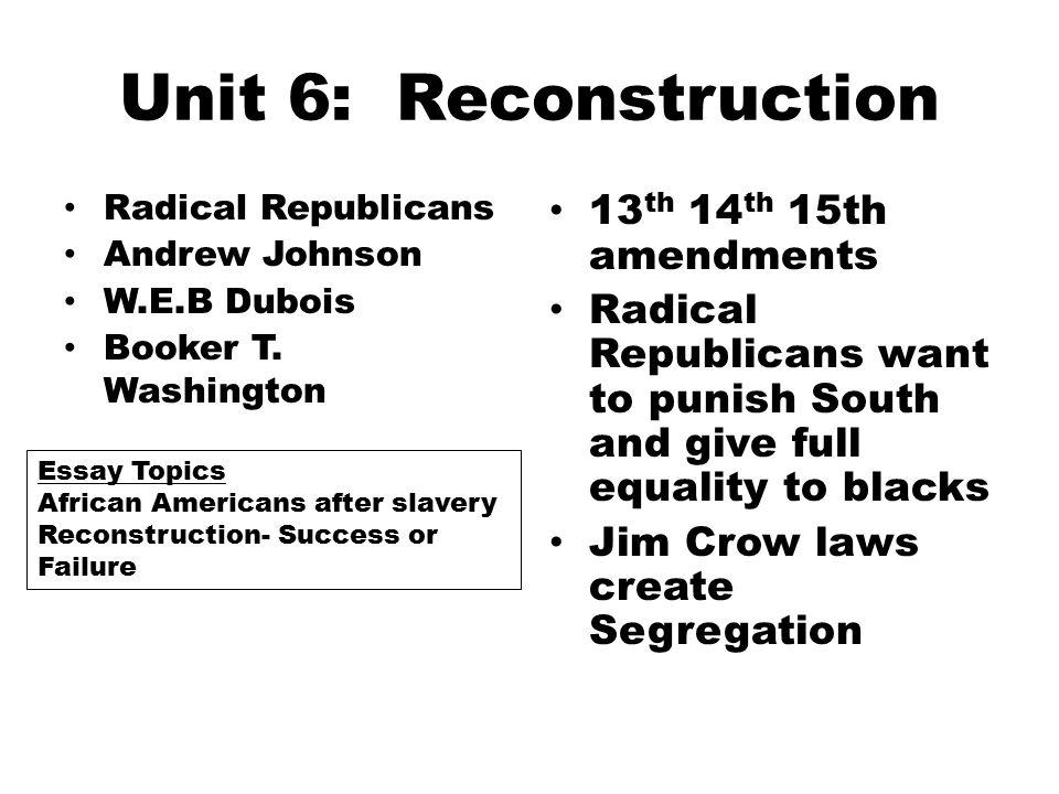 reconstruction failure dbq essay