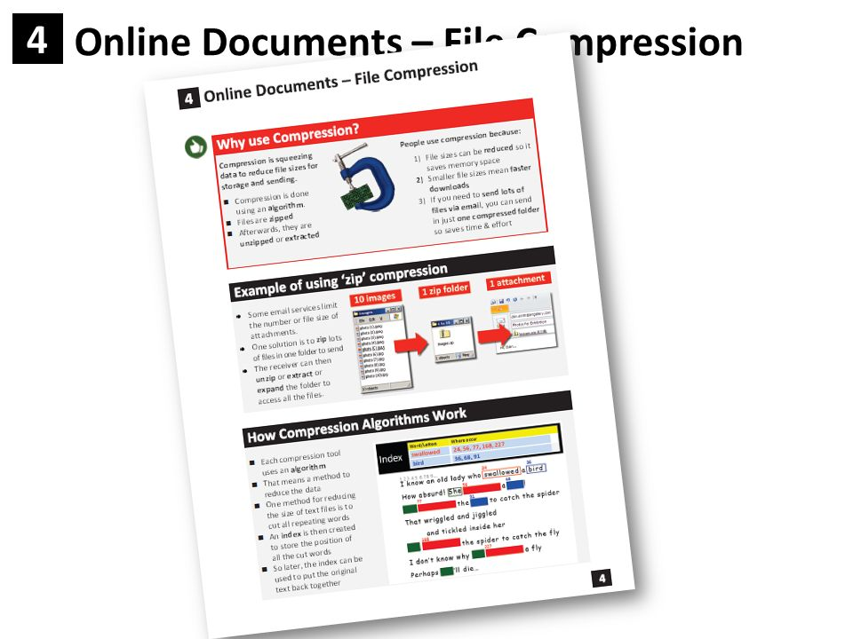 Online Documents – File Compression File size can be a big deal Like